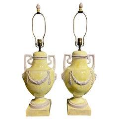 Glazed Terracotta/Majolica Urn Lamps, circa 1950-1960
