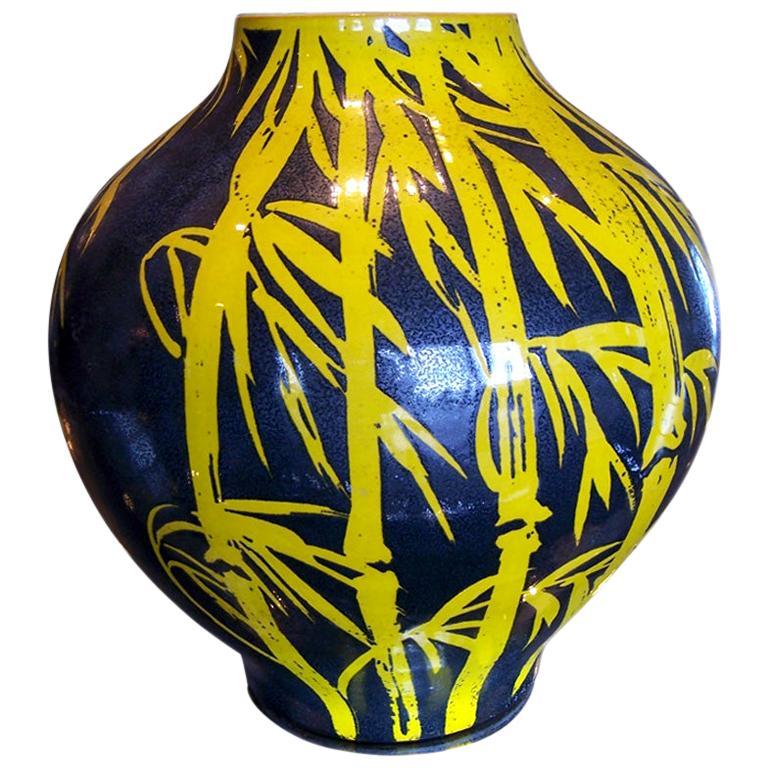 Glazed Terracotta Over-Sized Vase For Sale