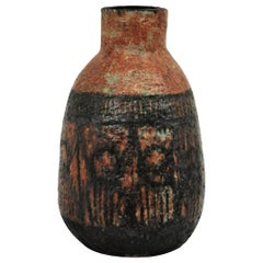 Glazed Terracotta Oversized Vase with Black Abstract Decoration