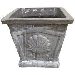 Glazed Terracotta Planter with Shell Motif