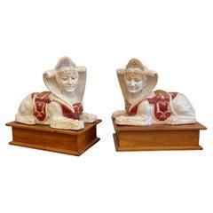 Glazed Terracotta Sphinx Sculptures a Pair