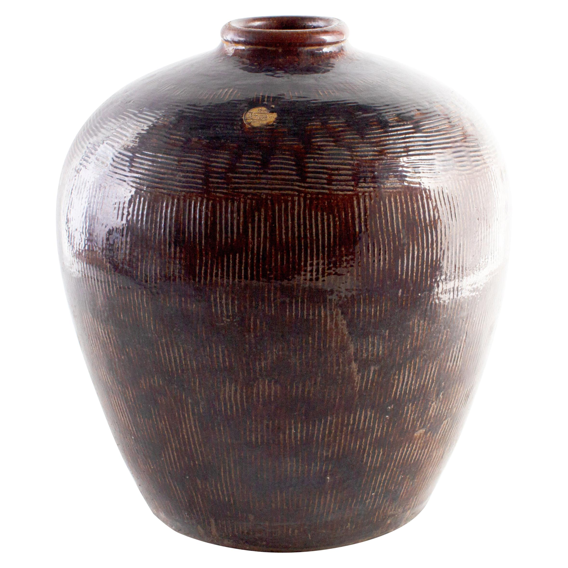 Glazed Vintage Terracotta Storage Jar