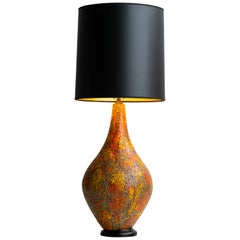 Glazed Volcanic Table Lamp, Italy, 1950