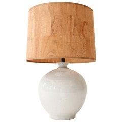 Glazed White Ceramic Table Lamp