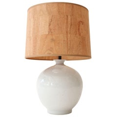 Glazed White Ceramic Table Lamp