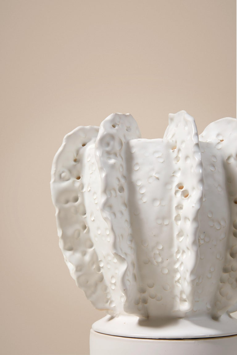 French Glazed White Large Candleholder With Sculpted Lid By Laura Gonzalez For Sale