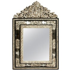 Glazing Beads Regence Style Mirror in Silvered Brass, Late 19th Century