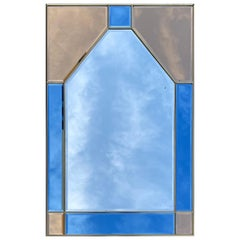 Glazing Mirror Brass and Color Glass, Italy, 1980s