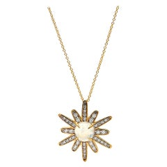 Gleam Diamond and Moonstone Necklace, 18 Karat Yellow Gold