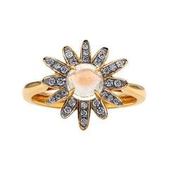Gleam Diamond and Moonstone Ring, 18 Karat Yellow Gold