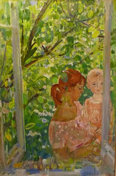 """ Mother  "" Child,Mother, Mother's Day , Russian Impressionist  oil cm. 67 x 100"