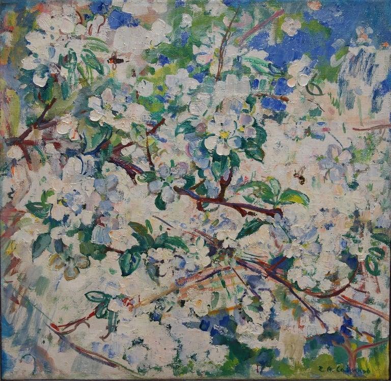 "Gleb Savinov Figurative Painting - ""Apple flowers and a small bee""  Spring,White Flowers,Impressionism ,65 x 63"