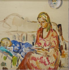 """Evening fairy tale"" Mom,Child,Love , Orange,Blue,Impressionismolio, cm. 40 x 40"