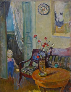 """Inside with little girl Polia"" Child,Interior,Yellow,blue ,cm. 70 x 90  1995"