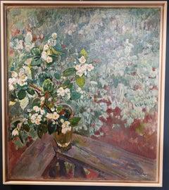 """""""Jasmine vase"""" Oil cm. 72 x 85 1985 White,Green"""
