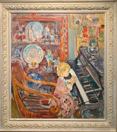 """Little girl at the piano""children, piano, music, cm. 72 x 82"