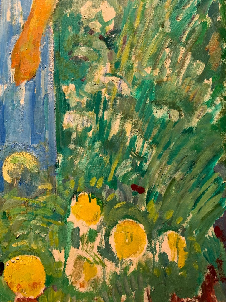 Flowers, garden, children, turquoise,green, spring  No frame  80 x 90 cm Framed cm. 94 x 100  GLEB SAVINOV (Charkev, 1915 – St. Petersburg, 2000)   Works by Gleb Savinov can be found in various private collections in Europe, Japan, United States and