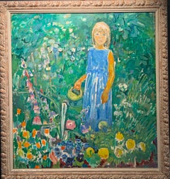 """Little girl in the garden""Flowers, garden, children, turquoise,green 80 x 90 cm"