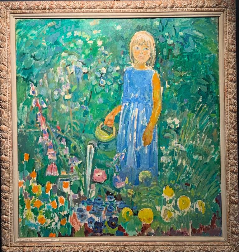 """Gleb Savinov Figurative Painting - """"Little girl in the garden""""Flowers, garden, children, turquoise,green 80 x 90 cm"""