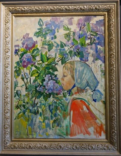 """Little girl niar the flowers"" ( Katia) Olio cm. 62 x 81  1974"