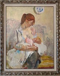 """Mother  "" Oil cm. 86 x 113      1969    Motherhood, baby, newborn, love"