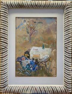 """""""Newborn in the garden"""" Child,Garden Oil cm.34 x 49 1974"""