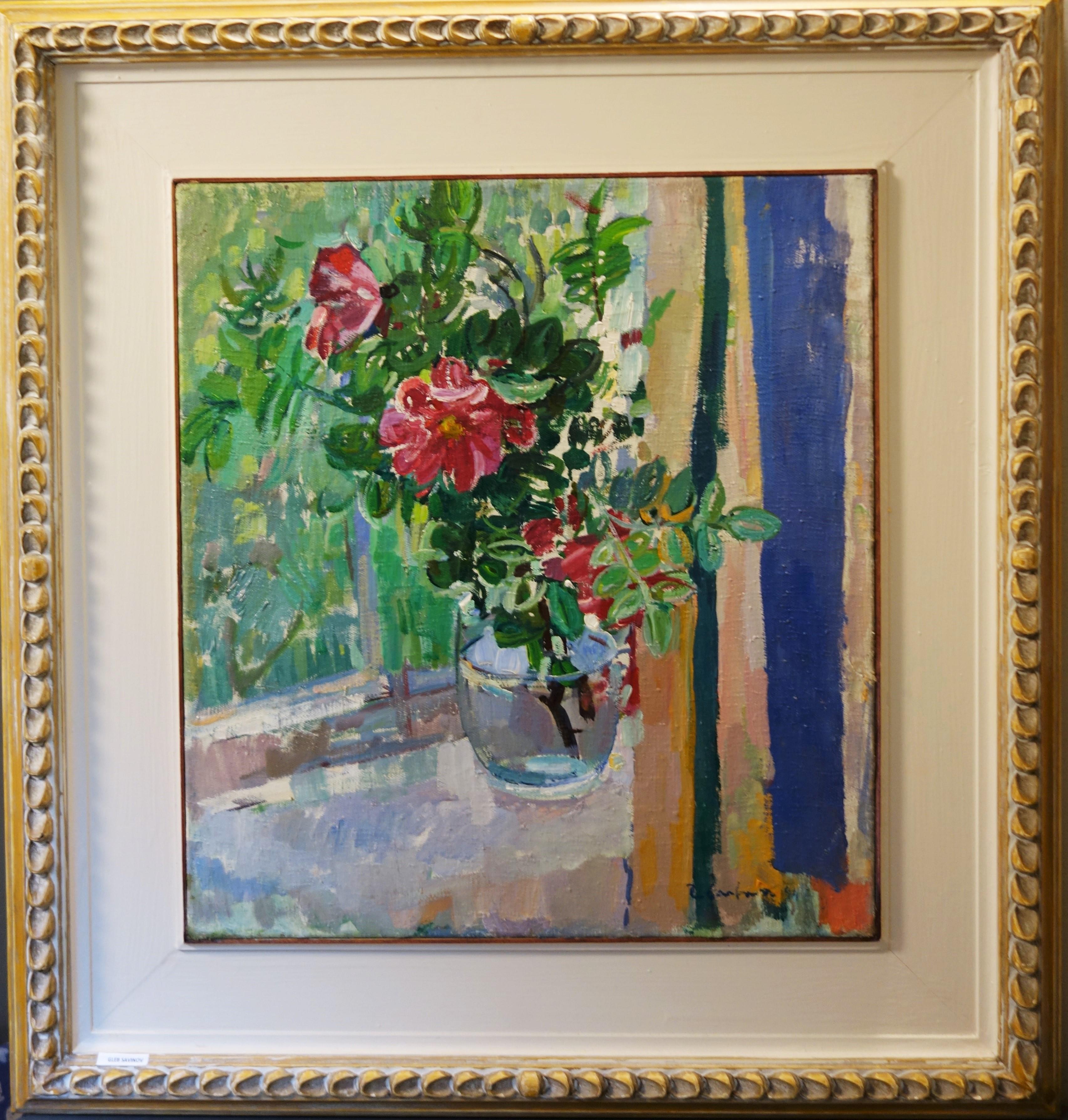 """Pink Wild Roses on the windowsill""Oil cm 55 x 50 1994"
