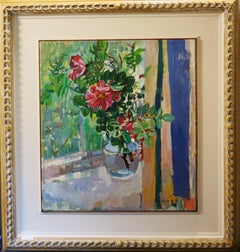 """Pink Wild Roses on the windowsill""Oil cm 55 x 50 1994"