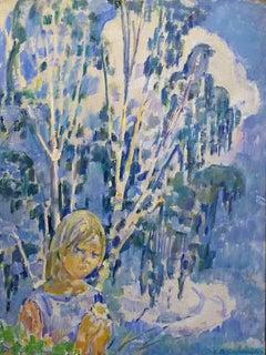 """Polja""  Girl, Blue, Light Blue, Spring, child    Oli   cm. 60 x 80"
