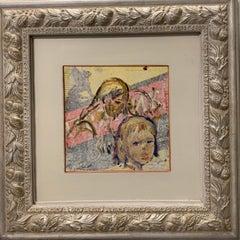 """Portrait of little girl"" Oil cm. 20 x 20 children, pink, russia"