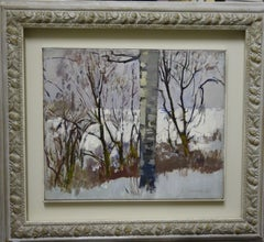 """Winter in the wood "" White ,Winter,Wood Oil cm. 54 x 45"