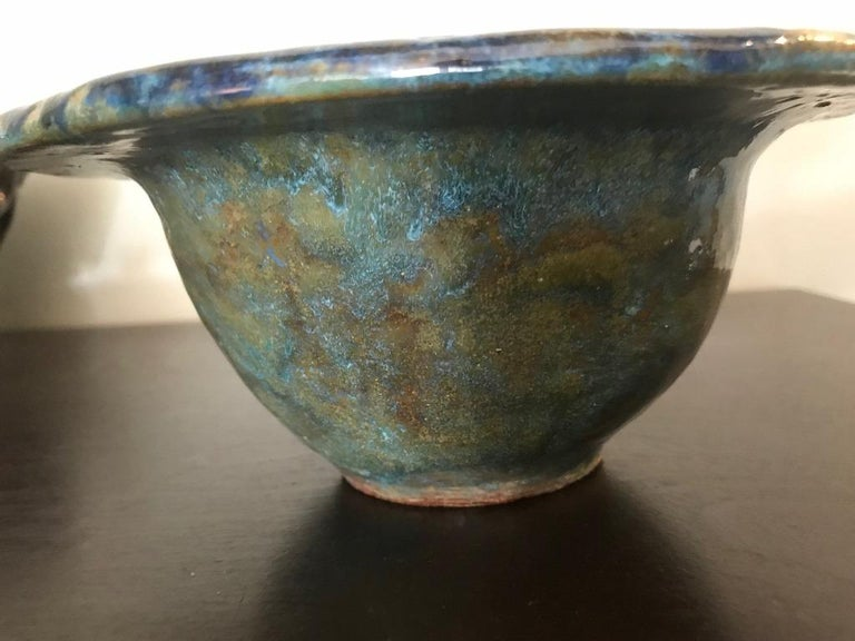 Hand-Crafted Glen Lukens Signed Mid-Century Modern Glazed Ceramic Pottery Bowl For Sale