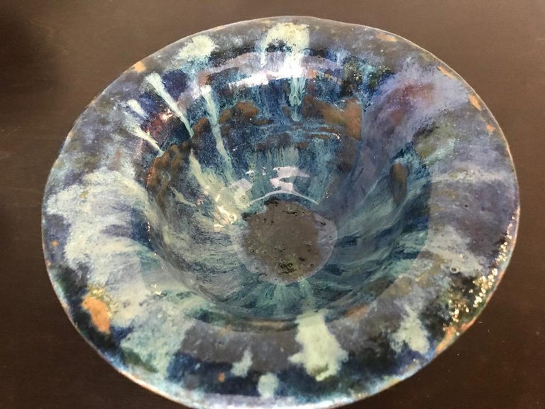 Glen Lukens Signed Mid-Century Modern Glazed Ceramic Pottery Bowl In Good Condition For Sale In Studio City, CA