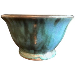 Glen Lukens Midcentury Blue with Gold Crackle Glazed Ceramic Pottery Bowl