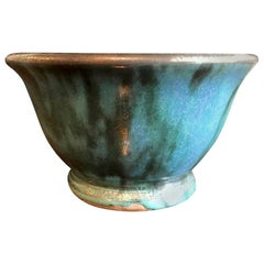 Glen Lukens Midcentury Modern Blue with Gold Crackle Glazed Ceramic Pottery Bowl