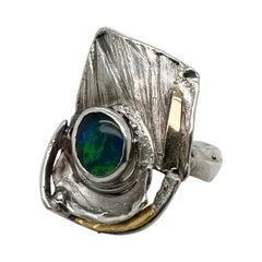 Glenda Arentzen Gold, Sterling Silver & Opal Modernist Ring, Ex-Aaron Faber