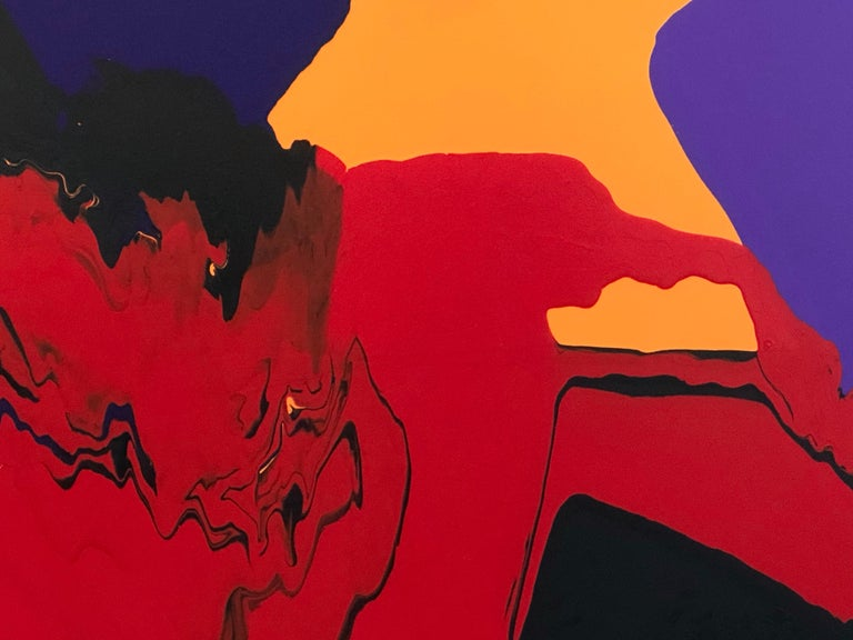 Current, abstract painting by Glenn Green, red, black, blue, yellow on canvas - Painting by Glenn A. Green