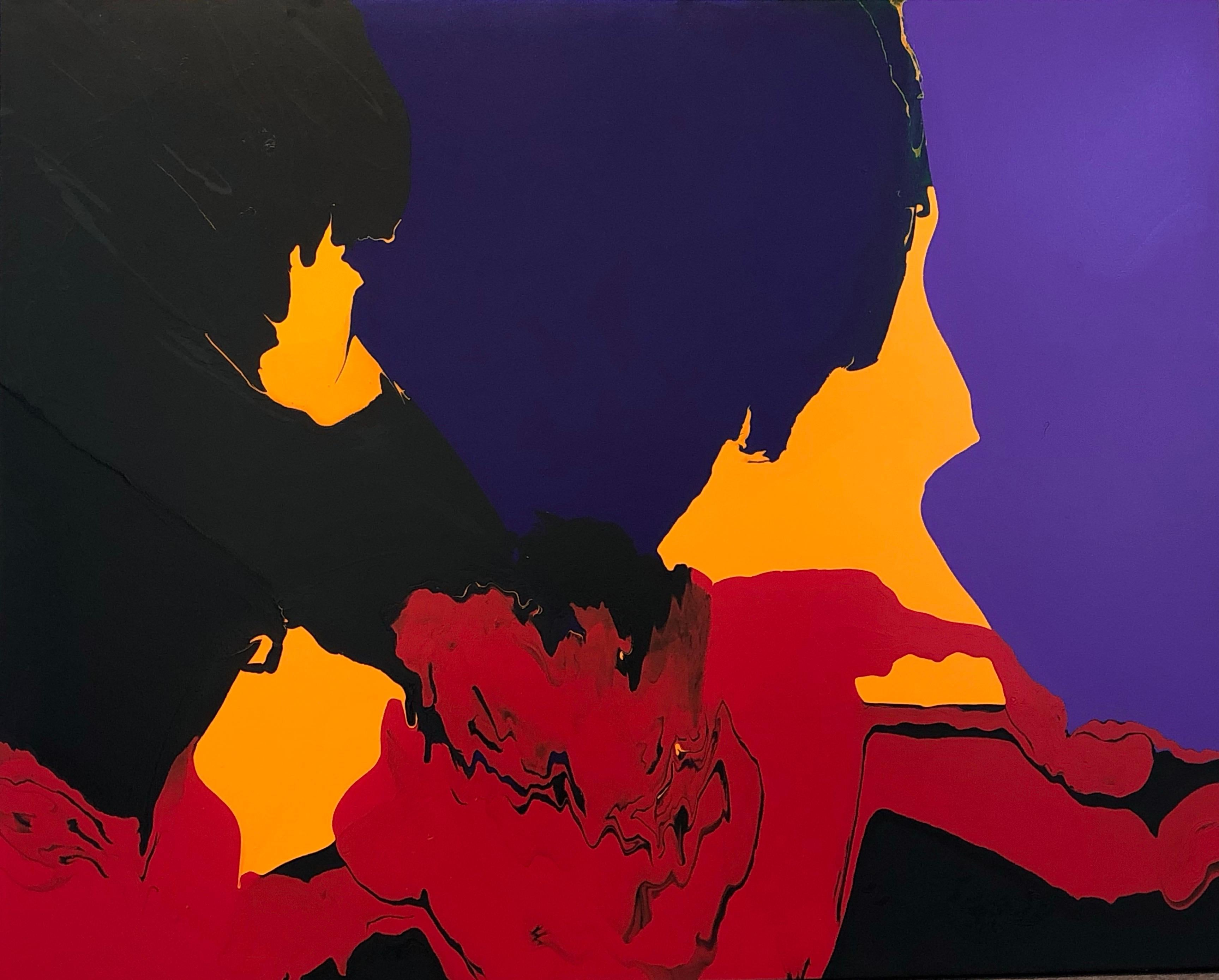 Current, abstract painting by Glenn Green, red, black, blue, yellow on canvas