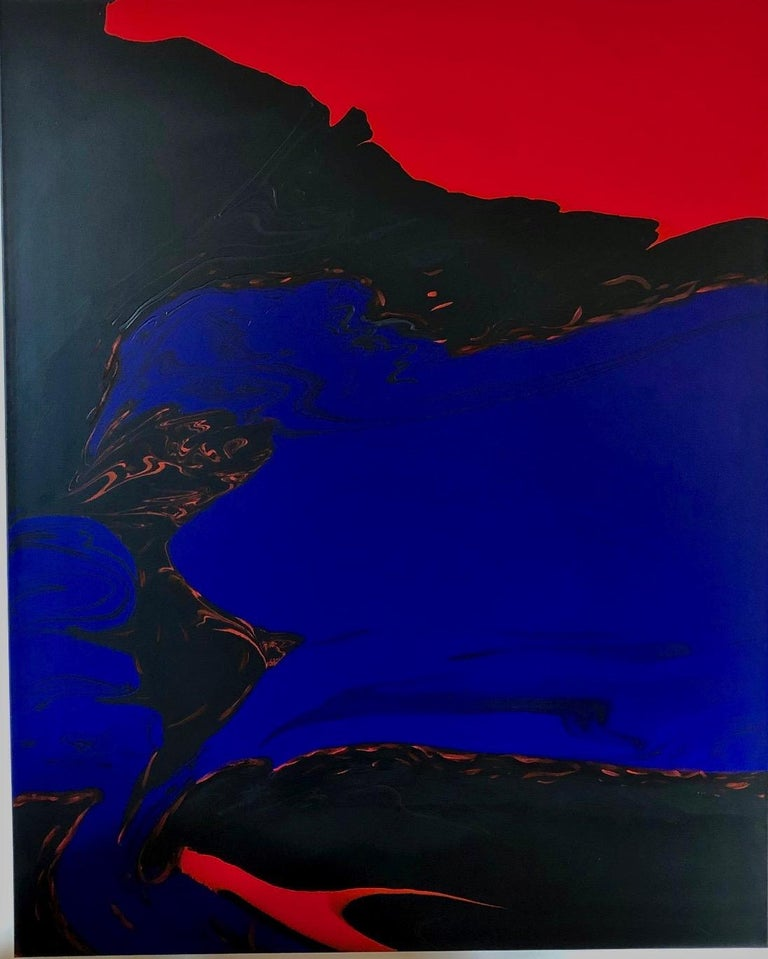 Deep Water by Glenn Green, abstract painting, blue, black, red on canvas - Painting by Glenn A. Green