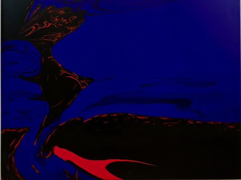 Deep Water by Glenn Green, abstract painting, blue, black, red on canvas - Abstract Painting by Glenn A. Green