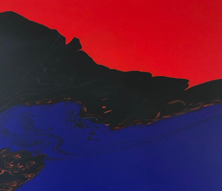 Deep Water by Glenn Green, abstract painting, blue, black, red on canvas - Black Landscape Painting by Glenn A. Green