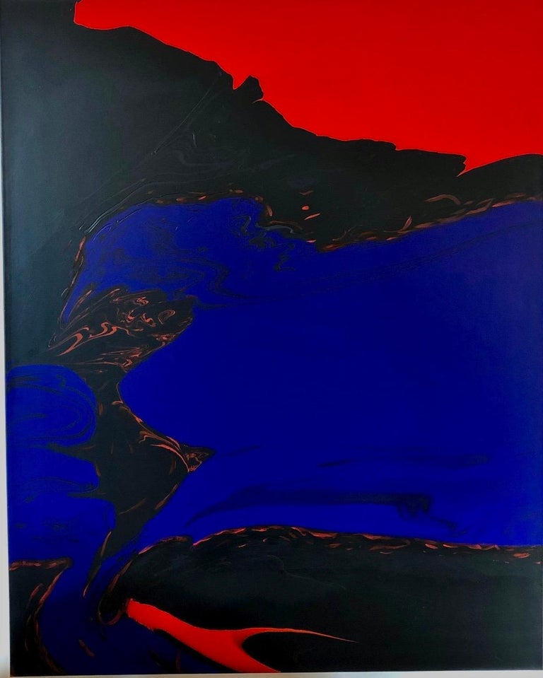 Glenn A. Green Landscape Painting - Deep Water by Glenn Green, abstract painting, blue, black, red on canvas