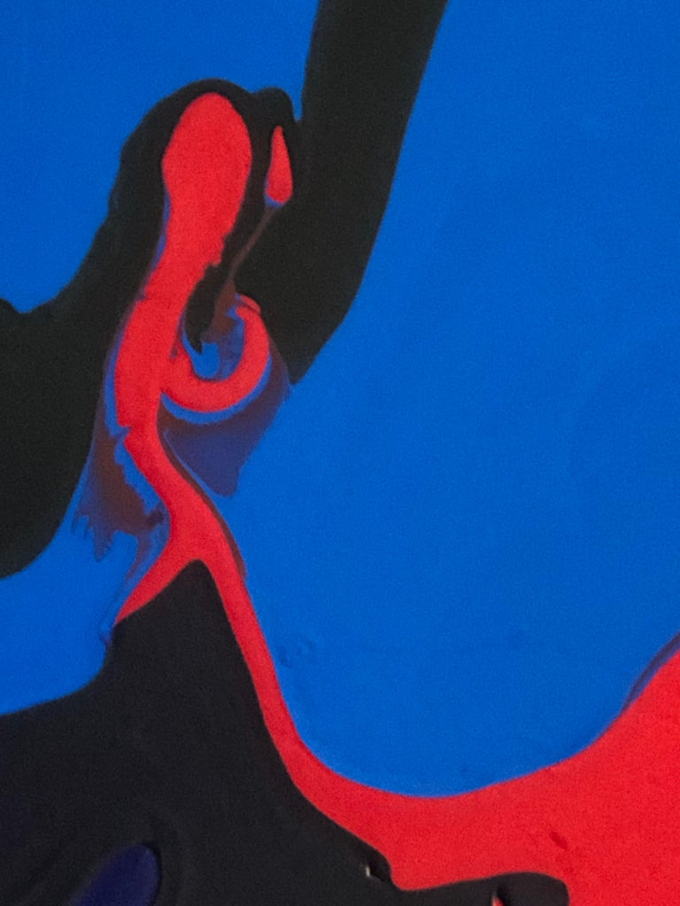 Deluge abstract painting by Glenn Green, blue, black, red acrylic on canvas - Abstract Painting by Glenn A. Green