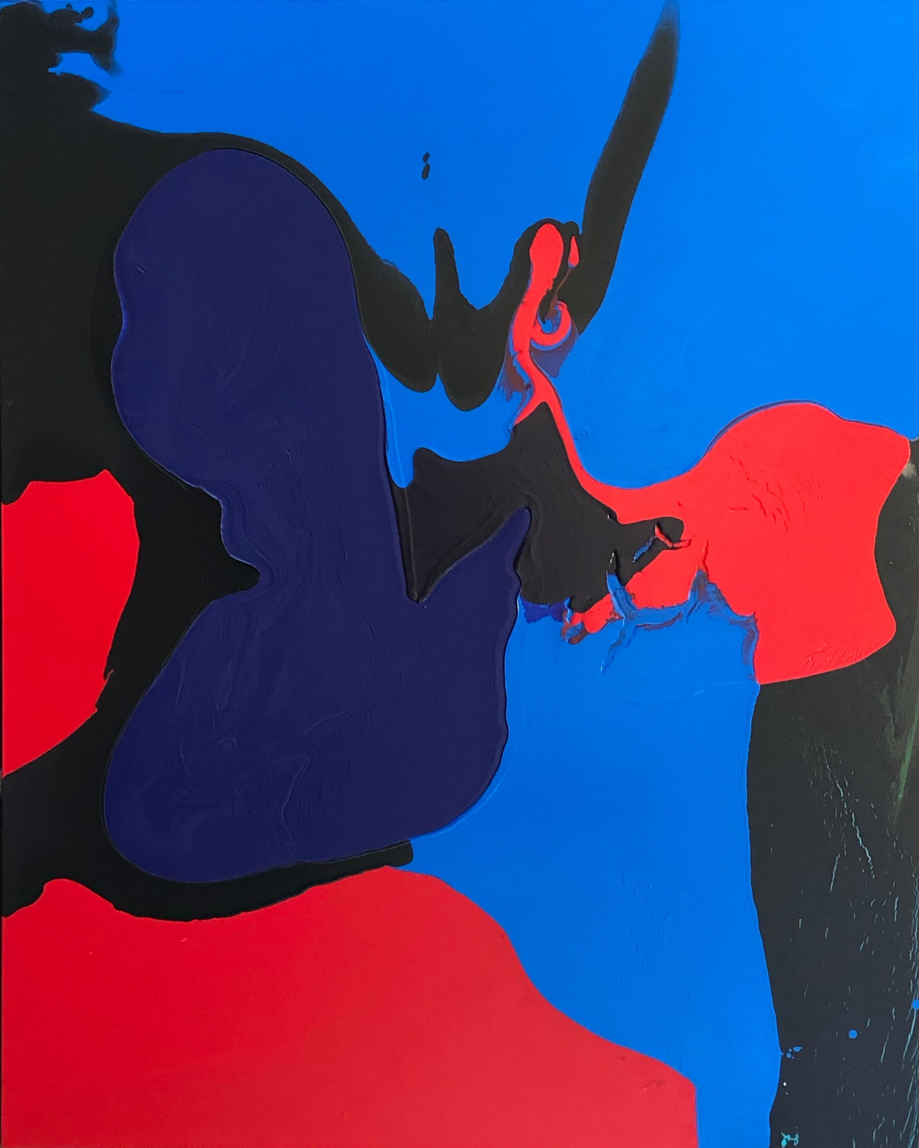 Deluge abstract painting by Glenn Green, blue, black, red acrylic on canvas