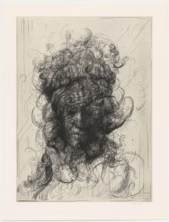 Glenn Brown, Half-Life #2 (after Rembrandt), Etching, 2017; abstracted portrait