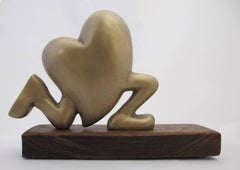 Running Heart, gold, bronze, sculpture, valentine, heart, runner, love, racer