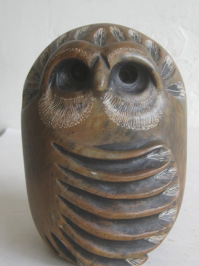 Great hand carved soapstone sculpture carving of an owl by California listed artist Glenn Heath. Dated from 1984 and is hand signed on the bottom. Has awesome details and color. In excellent shape. Measures approx. 4 1/2