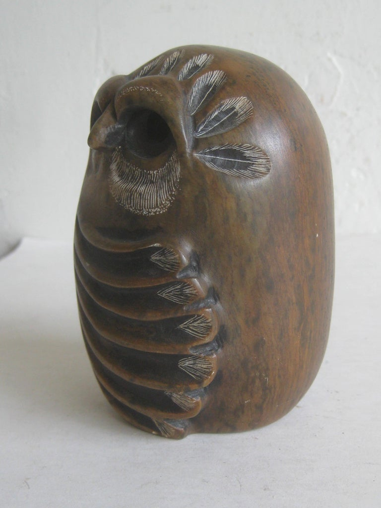 Glenn Heath Hand Carved Soapstone Owl Sculpture Figure Carving, Dated 1984 In Excellent Condition For Sale In San Diego, CA
