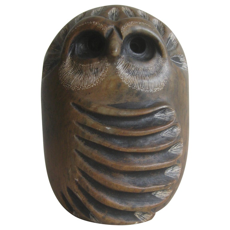 Glenn Heath Hand Carved Soapstone Owl Sculpture Figure Carving, Dated 1984 For Sale