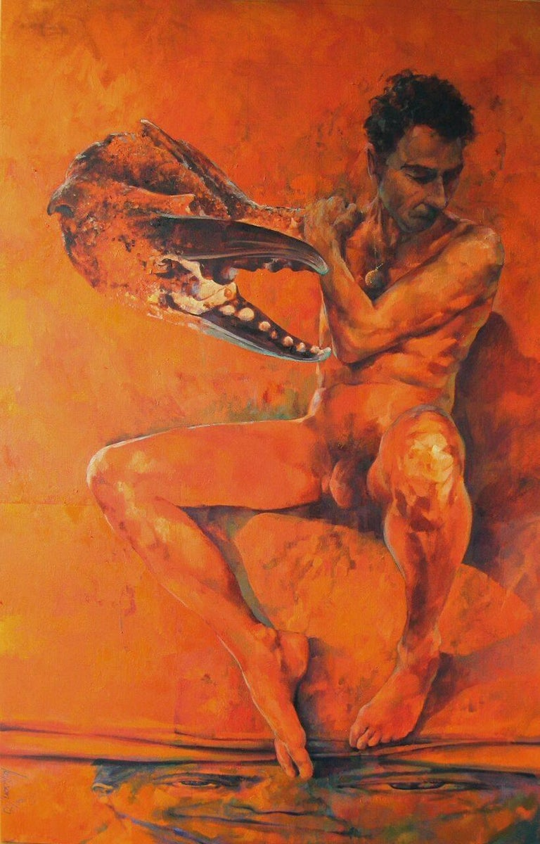 Glenn Ibbitson Figurative Painting - Clawman.  Contemporary Figurative Oil Painting